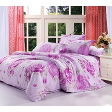 Lilac Floral Cotton Comfortable 4-piece Bed-in-a-bag