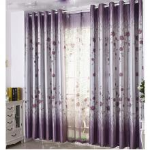 Lilac Floral Poly and Cotton Curtains for Blackout Function (Two Panels)