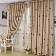 Lines and Polka Dots Countryside Champagne Eco-friendly Curtains (Two Panels)