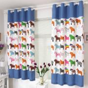 Little Pony Printed Kid Cotton Blue Black Half Curtains