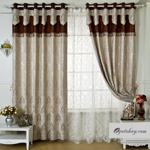 Luxurious European Patterns Floral Fiber Brown Blackout Curtains (Two Panels)