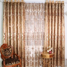 Luxurious Geometric European Style Champagne Curtains (Two Panels)