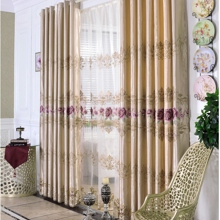 Luxurious Peony Embroidered Blackout Polyester Blackout Curtains (Two Panels)