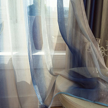 Mediterranean Style Bedroom Blue Sheer Curtains