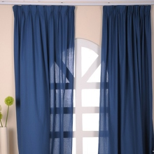 Mediterranean Style Linen Navy Blue Eco-friendly Curtains