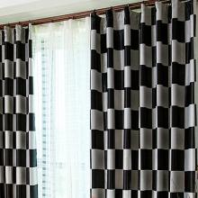Modern Multi-color Plaid Blackout Curtains Made of Polyester
