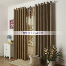 Modern Brown Room Darkening Cotton/ Ploy Blend Bedroom Curtains
