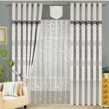 Modern Embossed Flocking Polyester Sound Absorption Curtains in Grey