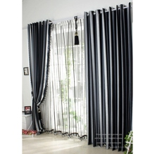 Modern Navy Striped Jacquard Blackout Curtains(Two Panels)