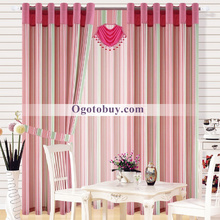 Modern Style Pink Striped Cotton/Polyester Blend Curtains