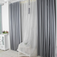 Modern and Chic Blackout Polyester Silver Smooth Curtains