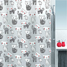 Mouse and Cat Shower Curtain in Cute Style