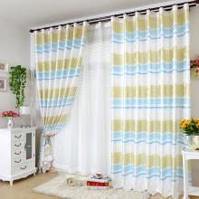 Nautical Striped Printed Polyester Eco-friendly Curtains