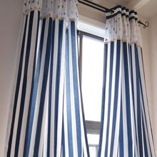 Nautical Style Blue and White Striped Cotton/Linen Blend Curtains