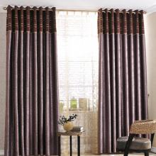 New Classic Yarn Blended Embossed Curtains in Purple (Two Panels)
