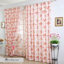Pastoral Beige Yarn and Polyester Floral Eco-friendly Curtains