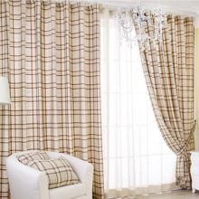 Pastoral Light Brown Plaid Cotton Eco-friendly Curtains (Two Panels)