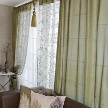Pastoral Linen and Cotton Blend Leaf Thermal Bedroom Curtains (Two Panels)