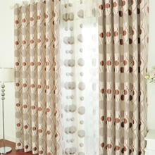 Pastoral Round and Lines Printed Brown Eco-friendly Curtains