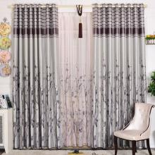 Pastoral Style Curtains Made of Polyester and Fiber in Silver (Two Panels)