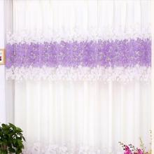 Pastoral White Cotton Curtains with Lilac Floral Printing