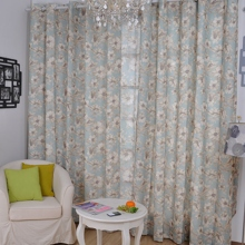 Peaceful Countryside Floral Printed Cotton Light Blue Curtains (Two Panels)