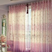 Pink Good Quality Linen and Fiber Bedroom Curtains with Flowers