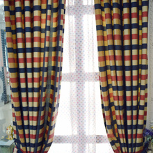 Plaid Blue And Pink Rustic Asian Style Country Curtains