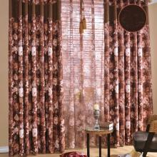 Poly and Cotton Blended Floral Printing Draped Curtains