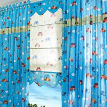 Polyester and Cotton Boys Blue Car Printed Curtains