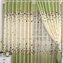 Polyester and Cotton Polka Dots Blackout Curtains in Green
