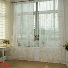 Pretty Embroidery Floral Sheer Curtains of Good Quality