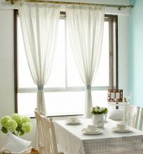 Prevailing Check White Striped Poly and Cotton Curtains