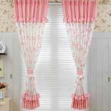 Princess Style Floral Printed Poly and Fiber Blended Curtains