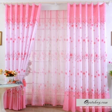 Princess Sweet Style Floral and Leaf Pink Curtains