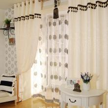 Printed and Jacquard White Curtains with Geometrical Patterns