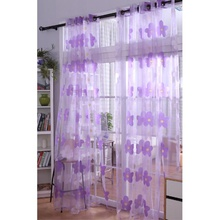 Purple Color Flowers Pattern Romantic Sheer Curtains