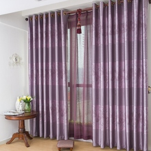 Purple Poly Solid Energy Saving Curtains (Two Panels)