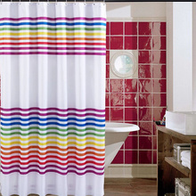 Rainbow Design Striped White Polyester Shower Curtains