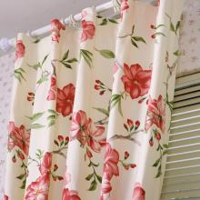 Red Floral Printed Ivory Thermal Curtains Made of Cotton