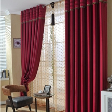 Red Thicken Eco-friendly Polyester Geometric Curtains