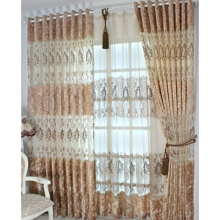 Romantic Coffee Jacquard Energy Saving Curtains with Embroidery and Lace(Two Panels)