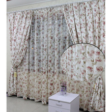 Romantic Floral Beautiful Toile Pink Floral Long curtains