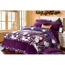 Romantic Floral Printing Coral Fleece and Cotton Duvet Cover Set of 4-piece