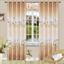Romantic Floral and Leaf Patterns Camel Energy Saving Curtains