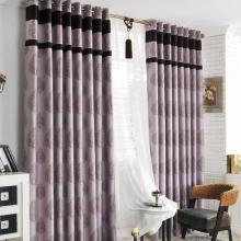 Romantic Geometrical Printing Purple Poly Curtains (Two Panels)