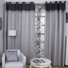 Romantic Jacquard Floral Printed Grey Linen/Polyester Blend Thermal Curtains (Two Panels)