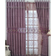 Romantic Purple Lace and Printed Energy Saving Curtains (Two Panels)