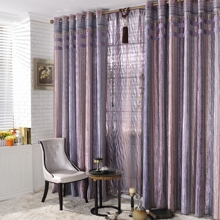 Romantic Purple Silver Striped Jacquard Energy Saving Curtains (Two Panels)