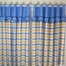 Scotland Style Pastoral Blue and Yellow Plaid Living Room Curtain (Two Panels)